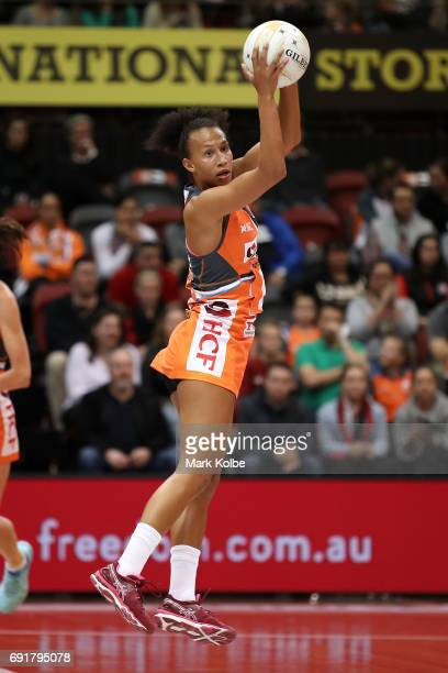 Serena Guthrie of the Giants catches a pass during the Super Netball Major Semi Final match between the Giants and the Magpies at Sydney Olympic Park...