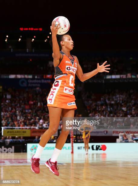 Serena Guthrie of the Giants catches the ball during the round 14 Super Netball match between the Giants and the Lightning at Qudos Bank Arena on May...