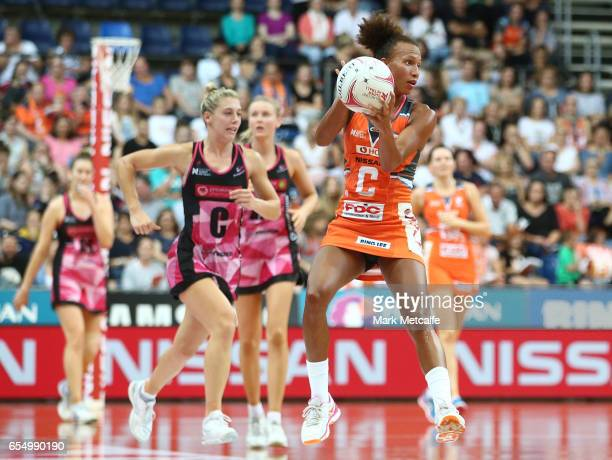 Serena Guthrie of the Giants in action during the round five Super Netball match between the Giants and the Thunderbirds at AIS on March 19 2017 in...