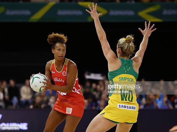 Serena Guthrie of the Roses looks to pass the ball during the International Test match between the Australian Diamonds and England at Adelaide...