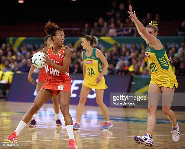 Serena Guthrie of the Roses moves the ball forward during the International Test match between the Australian Diamonds and England at Adelaide...