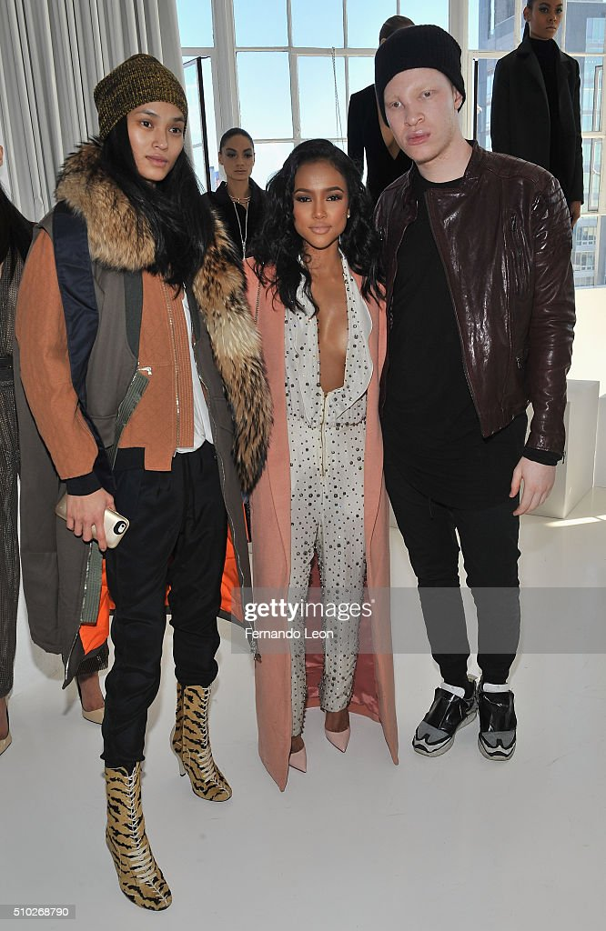 Serena Gutierrez, Karrueche Tran and Shaun Ross attend the Laquan Smith Presentation at Jack Studios during Fall 2016 New York Fashion Week on February 14, 2016 in New York City.