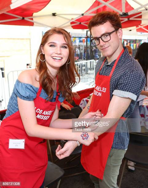 Serena Laurel and Justin Tinucci at the Los Angeles Mission's End of Summer Arts and Education Fair at Los Angeles Mission on August 26 2017 in Los...