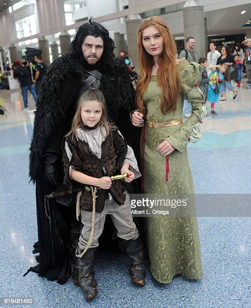Serena Laurel dresses as Sansa Stark with fellow Game Of Thrones cosplayers at day 3 of Stan Lee's Los Angeles Comic Con 2016 held at Los Angeles...