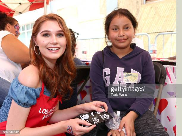 Serena Laurel volunteers at the Los Angeles Mission's End of Summer Arts and Education Fair at Los Angeles Mission on August 26 2017 in Los Angeles...