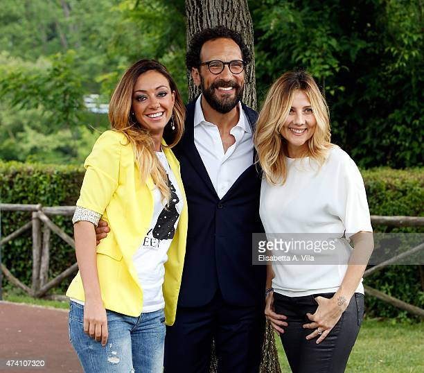 Serena Magnanensi Federico Quaranta and Arianna Ciampoli attend 'Mezzogiorno Italiano' Tv Show photocall at RAI on May 20 2015 in Rome Italy