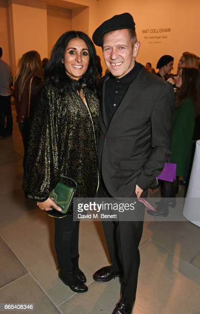Serena Rees and Paul Simonon attend the Private View of 'Centrifugal Soul' by Mat Collishaw at Blain Southern on April 6 2017 in London England