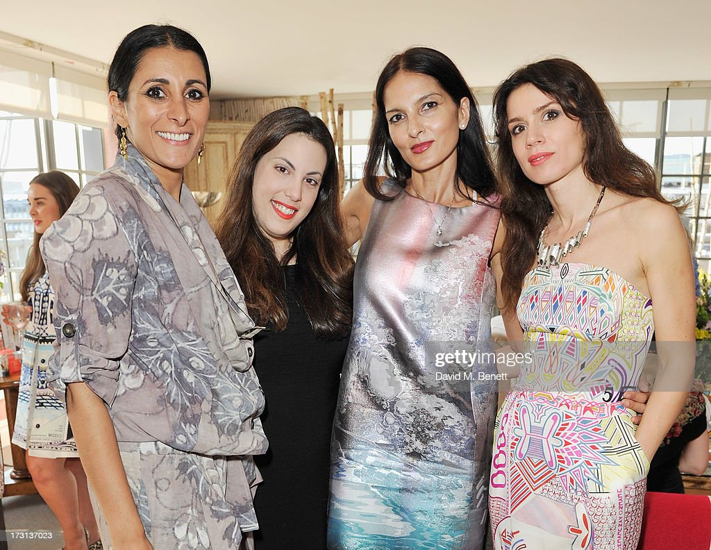 <a gi-track='captionPersonalityLinkClicked' href=/galleries/search?phrase=Serena+Rees&family=editorial&specificpeople=668227 ng-click='$event.stopPropagation()'>Serena Rees</a>, Mary Katrantzou, <a gi-track='captionPersonalityLinkClicked' href=/galleries/search?phrase=Yasmin+Mills&family=editorial&specificpeople=226690 ng-click='$event.stopPropagation()'>Yasmin Mills</a> and Lara Bohinc attends Mary Katrantzou for Rodial candle launch party at Soho Hotel on July 8, 2013 in London, England.