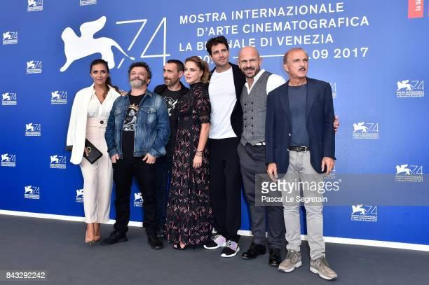 Serena Rossi Marco Manetti Antonio Manetti Claudia Gerini Giampaolo Morelli Raiz and Carlo Buccirosso attend the 'Ammore E Malavita' photocall during...