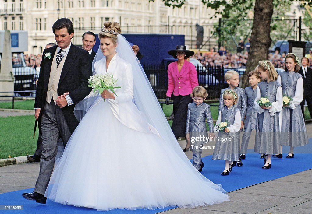 Serena Stanhope (now Viscountess Linley) With Her Father, Viscount Petersham On Her Wedding Day At St Margaret's Church.