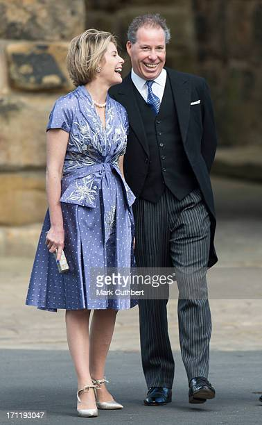 Serena Viscountess Linley and David Viscount Linley attend the wedding of Melissa Percy and Thomas van Straubenzee at Alnwick Castle on June 22 2013...