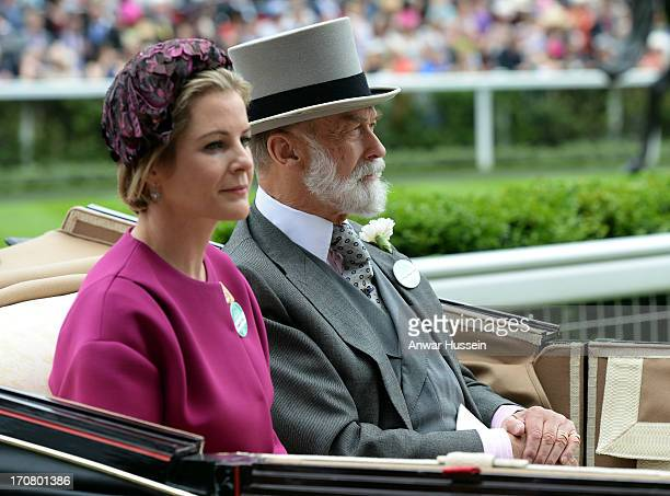 Serena Viscountess Linley and Prince Michael of Kent arrive in an open carriage to attend Day 1 of Royal Ascot at Ascot Racecourse on June 18 2013 in...