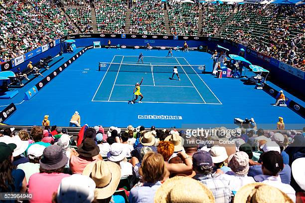 Serena Willams and Venus Williams play doubles during the Australian Open Tennis Grand Slam January 25 2009 in Melbourne