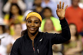 Serena Williams addresses the crowd after withdrawing from the tournament due to injury during day twelve of the BNP Paribas Open at the Indian Wells...