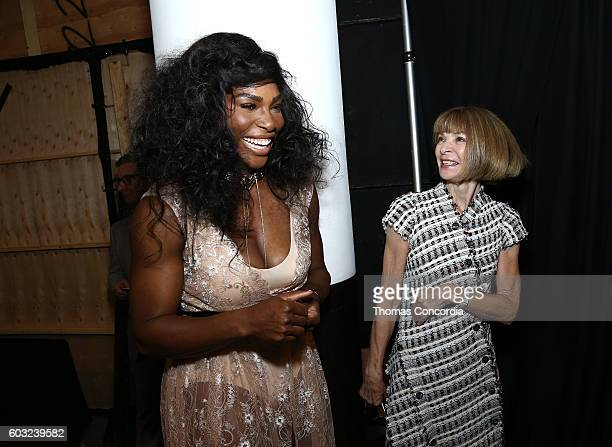Serena Williams and Anna Wintour attend HSN Presents Serena Williams Signature Statement Collection Fashion Show at Kia STYLE360 New York Fashion...