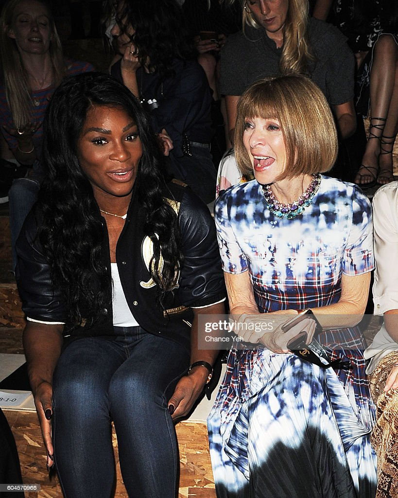 Serena Williams and Anna Wintour laugh at the Coach 1941 Women's Spring 2017 Show at Pier 76 on September 13, 2016 in New York City.