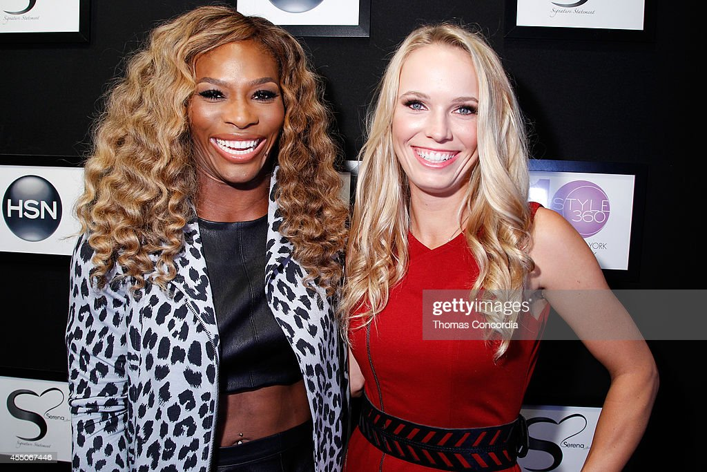Serena Williams and Caroline Wozniacki attend the Serena Williams Signature Statement Collection show during STYLE360 on September 9 2014 in New York...