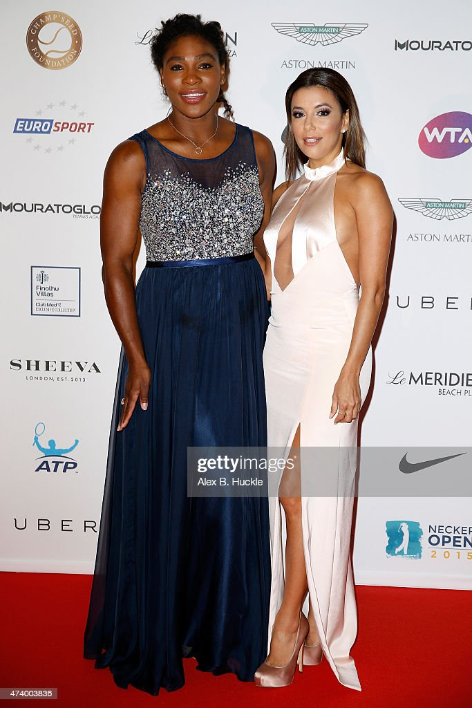 Serena Williams and Eva Longoria attend the Champ'Seed party on May 19, 2015 in Monaco, Monaco.