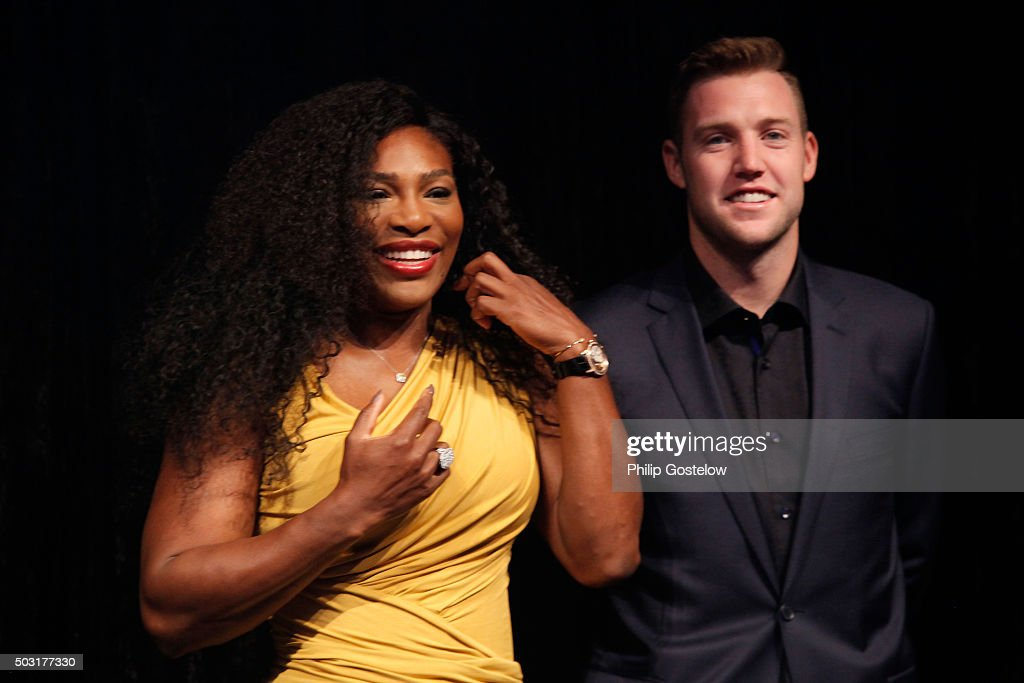 Serena Williams and Jack Sock at the 2016 Hopman Cup Player Party at Perth Crown on January 2, 2016 in Perth, Australia.