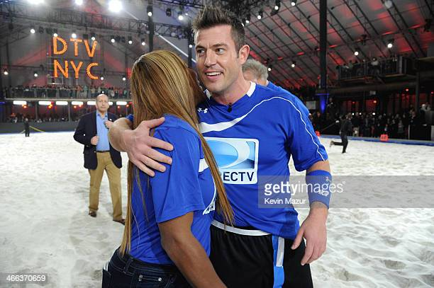 Serena Williams and Jesse Palmer participate in the DirecTV Beach Bowl at Pier 40 on February 1 2014 in New York City