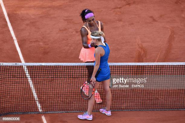 Serena Williams and Timea Bacsinszky shake hands at the end of their match in the Women's Singles Semifinals on day twelve of the French Open at...