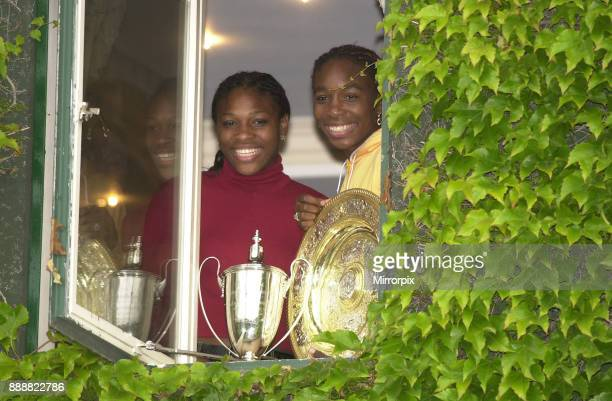 Serena Williams and Venus Williams after win at Wimbledon July 2000 Serena and her sister Venus pose for photographers as they celebrate winning the...