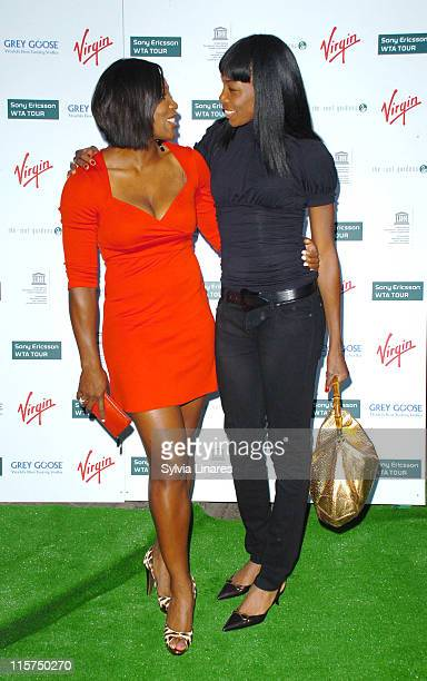 Serena Williams and Venus Williams during PreWimbledon Party Arrivals at Kensington Roof Gardens in London Great Britain