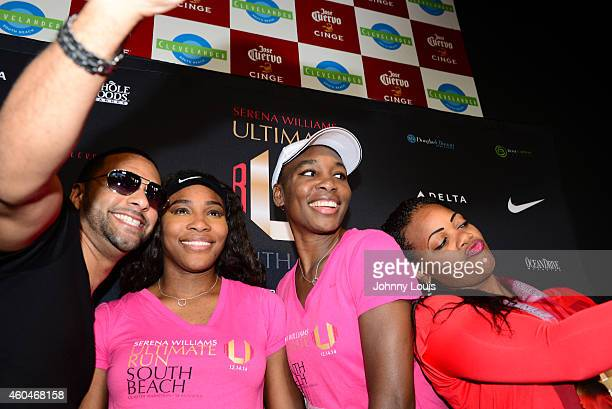 Serena Williams and Venus Williams participate in The Serena Williams Ultimate Run karaoke afterparty and Award ceremony at Clevelander South Beach...
