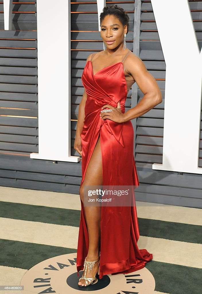<a gi-track='captionPersonalityLinkClicked' href=/galleries/search?phrase=Serena+Williams&family=editorial&specificpeople=171101 ng-click='$event.stopPropagation()'>Serena Williams</a> arrives at the 2015 Vanity Fair Oscar Party Hosted By Graydon Carter at Wallis Annenberg Center for the Performing Arts on February 22, 2015 in Beverly Hills, California.