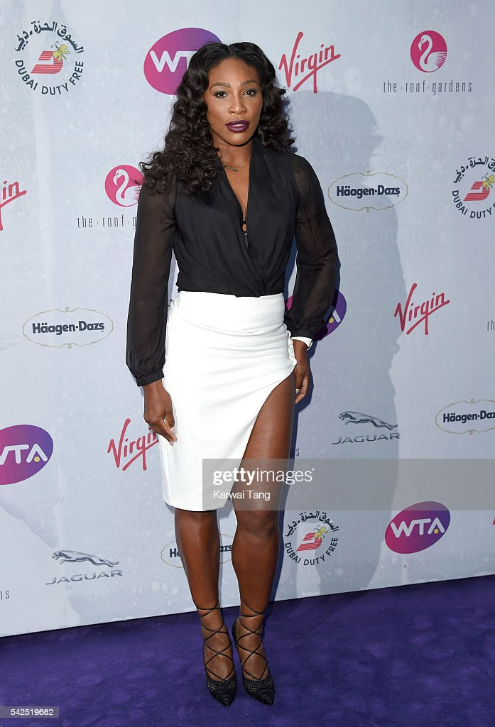 Serena Williams arrives for the WTA PreWimbledon Party at Kensington Roof Gardens on June 23 2016 in London England