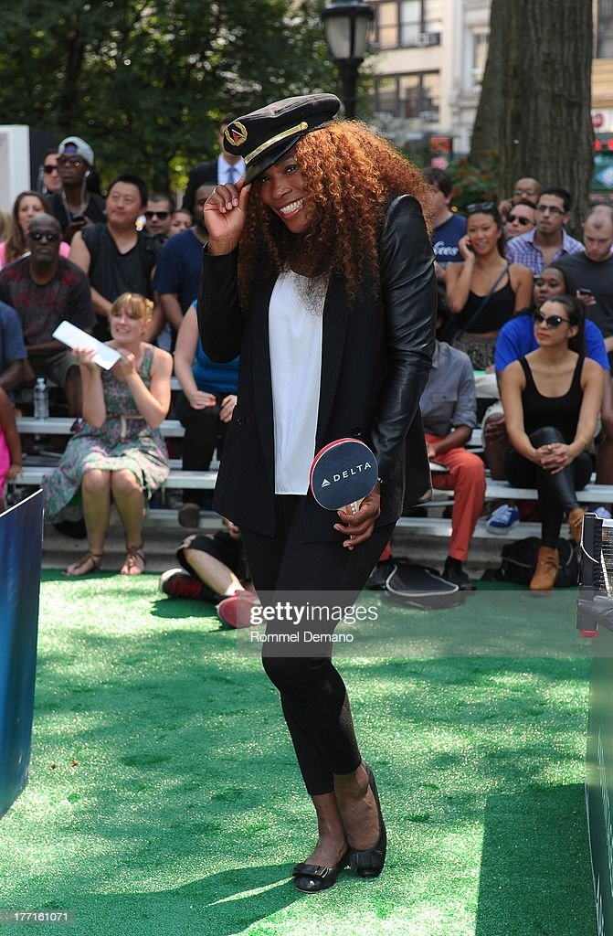 <a gi-track='captionPersonalityLinkClicked' href=/galleries/search?phrase=Serena+Williams&family=editorial&specificpeople=171101 ng-click='$event.stopPropagation()'>Serena Williams</a> attends the Delta Open Table Tennis Tournament at Madison Square Park on August 21, 2013 in New York City.