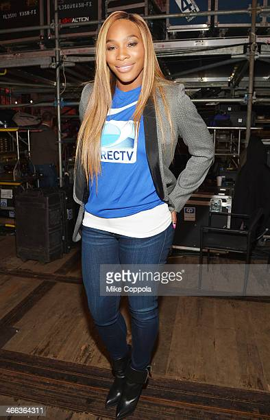 Serena Williams attends the DirecTV Beach Bowl at Pier 40 on February 1 2014 in New York City