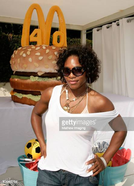 Serena Williams attends the McDonald's Big Mac 40th Birthday Party at Project Beach House in Malibu California on July 27 2008