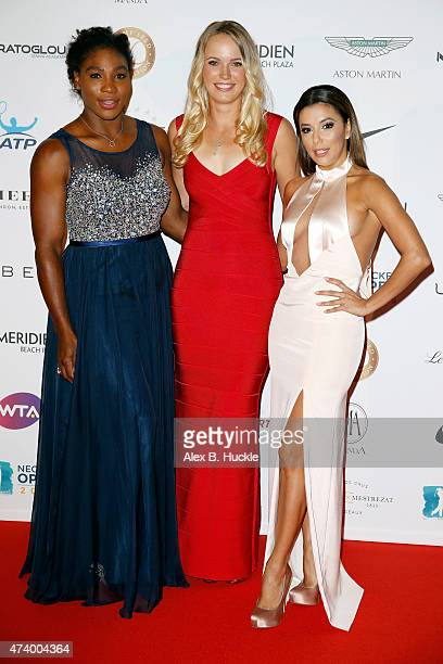 Serena Williams Caroline Wozniacki and Eva Longoria attend the Champ'Seed party on May 19 2015 in Monaco Monaco