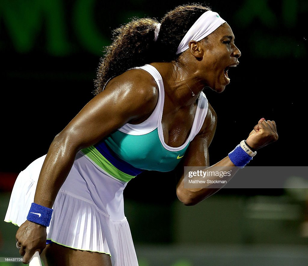<a gi-track='captionPersonalityLinkClicked' href=/galleries/search?phrase=Serena+Williams&family=editorial&specificpeople=171101 ng-click='$event.stopPropagation()'>Serena Williams</a> celebrates a point in the final game against Ayumi Morita of Japan during the Sony Open at Crandon Park Tennis Center on March 23, 2013 in Key Biscayne, Florida.