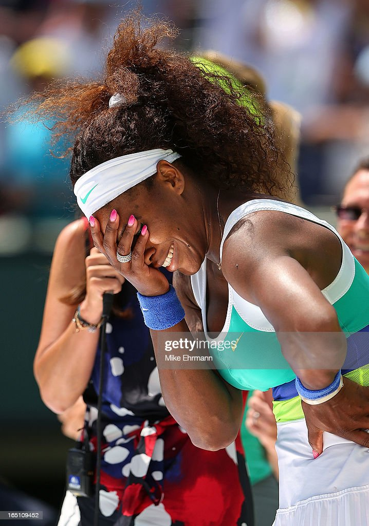 Serena Williams celebrates after winning against Maria Sharapova of Russia in the final of the Sony Open at Crandon Park Tennis Center on March 30, 2013 in Key Biscayne, Florida.