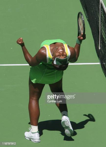 Serena Williams celebrates as she wins the semifinal match against Nicole Vaidisova during the Women's singles at the 2007 Australian Open in...