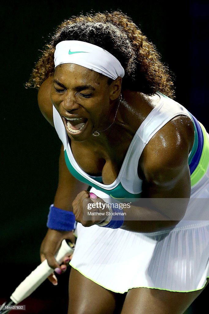 <a gi-track='captionPersonalityLinkClicked' href=/galleries/search?phrase=Serena+Williams&family=editorial&specificpeople=171101 ng-click='$event.stopPropagation()'>Serena Williams</a> celebrates match point against Ayumi Morita of Japan during the Sony Open at Crandon Park Tennis Center on March 23, 2013 in Key Biscayne, Florida.