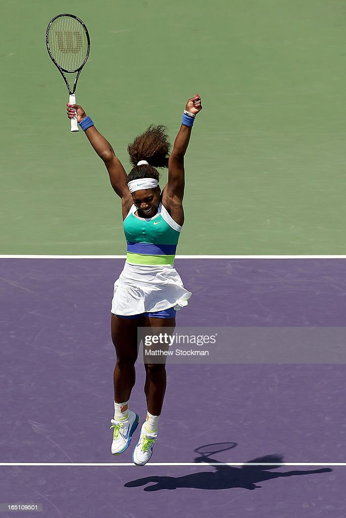 Serena Williams celebrates match point against Maria Sharapova of Russia during the final of the Sony Open at Crandon Park Tennis Center on March 30, 2013 in Key Biscayne, Florida.