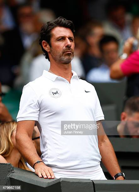 Serena Williams' Coach Patrick Mouratoglou on Centre Court for the Ladies' Singles Fourth Round match between Serena Williams of the United States...