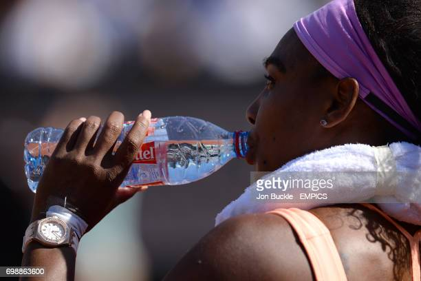 Serena Williams during her match against Timea Bacsinszky in the Women's Singles Semifinals on day twelve of the French Open at Roland Garros on June...