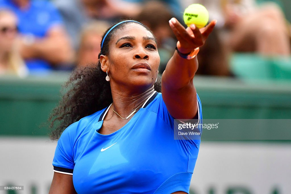 Serena Williams during the Women's Singles second round on day five of the French Open 2016 at Roland Garros on May 26, 2016 in Paris, France.