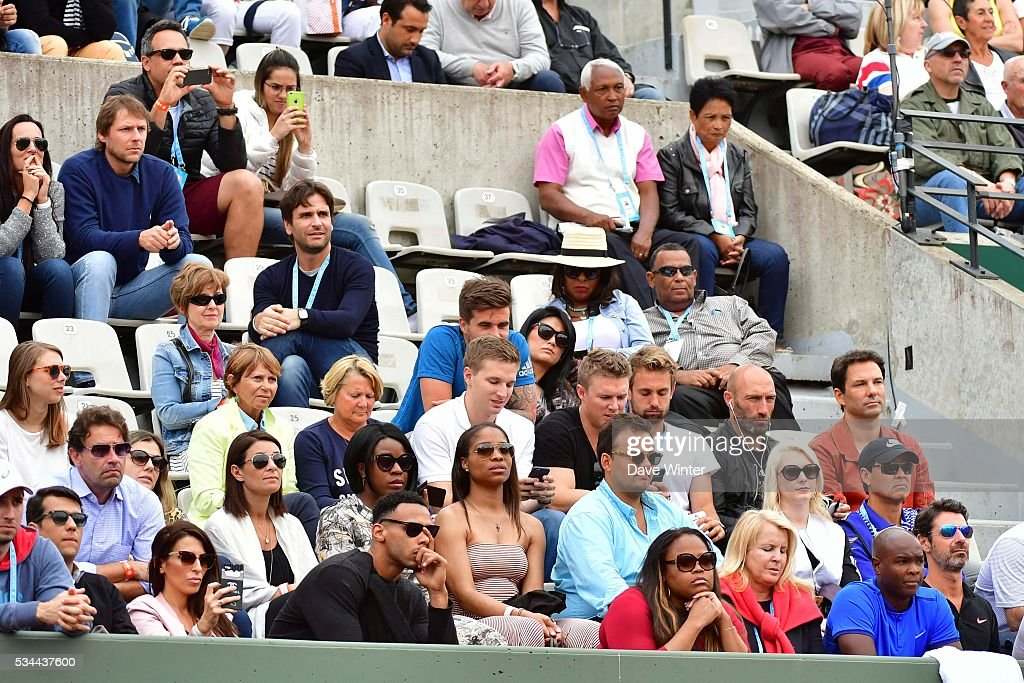 Serena Williams' entourage during the Women's Singles second round on day five of the French Open 2016 at Roland Garros on May 26, 2016 in Paris, France.