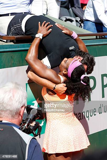 Serena Williams here with her coach Patrick Mouratoglou won the Women Final against Lucie Safarova during the 2015 Roland Garros French Tennis Open...