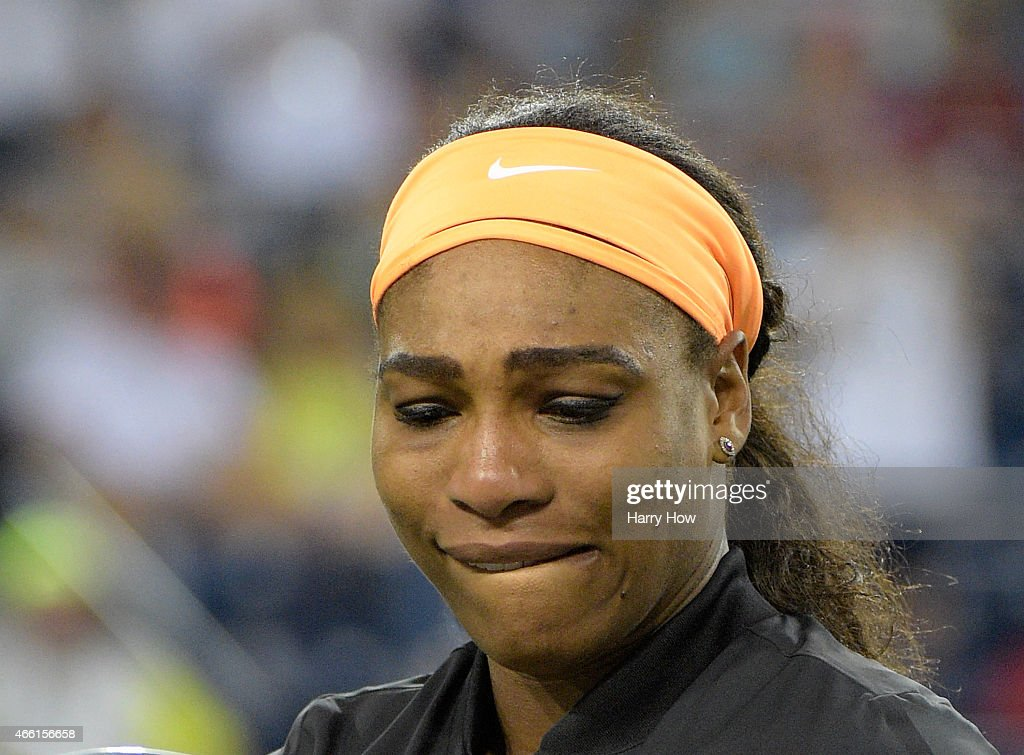 Serena Williams holds back tears before her match against Monica Niculescu of Romania during the BNP Parisbas Open at the Indian Wells Tennis Garden...