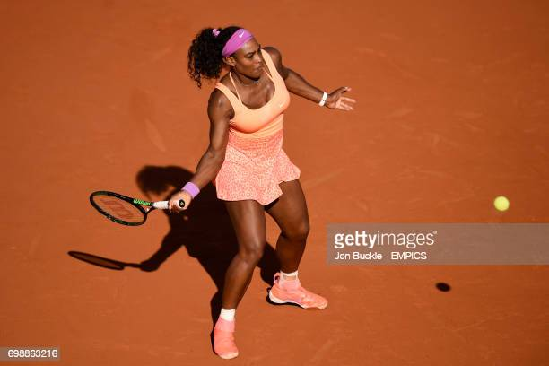 Serena Williams in action during her match against Timea Bacsinszky in the Women's Singles Semifinals on day twelve of the French Open at Roland...