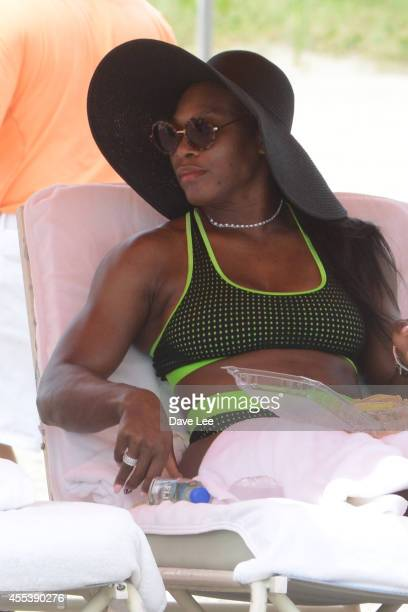 Serena Williams is sighted enjoying the beach and the water in Miami Beach on September 13 2014 in Miami Florida