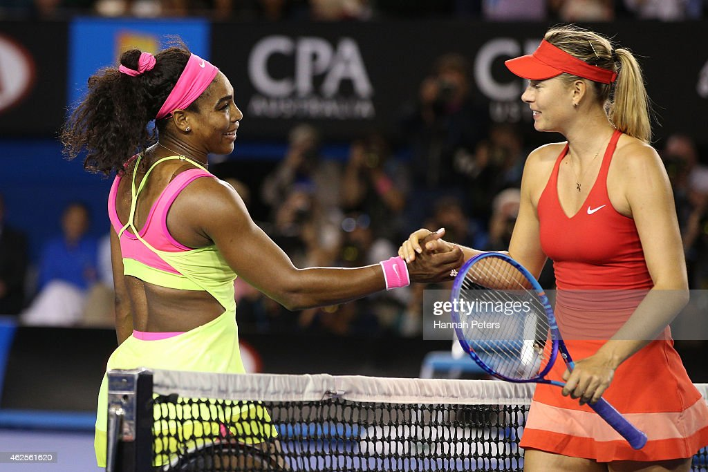 <a gi-track='captionPersonalityLinkClicked' href=/galleries/search?phrase=Serena+Williams&family=editorial&specificpeople=171101 ng-click='$event.stopPropagation()'>Serena Williams</a> of the United States and <a gi-track='captionPersonalityLinkClicked' href=/galleries/search?phrase=Maria+Sharapova&family=editorial&specificpeople=157600 ng-click='$event.stopPropagation()'>Maria Sharapova</a> of Russia shake hands after Williams won their women's final during day 13 of the 2015 Australian Open at Melbourne Park on January 31, 2015 in Melbourne, Australia.