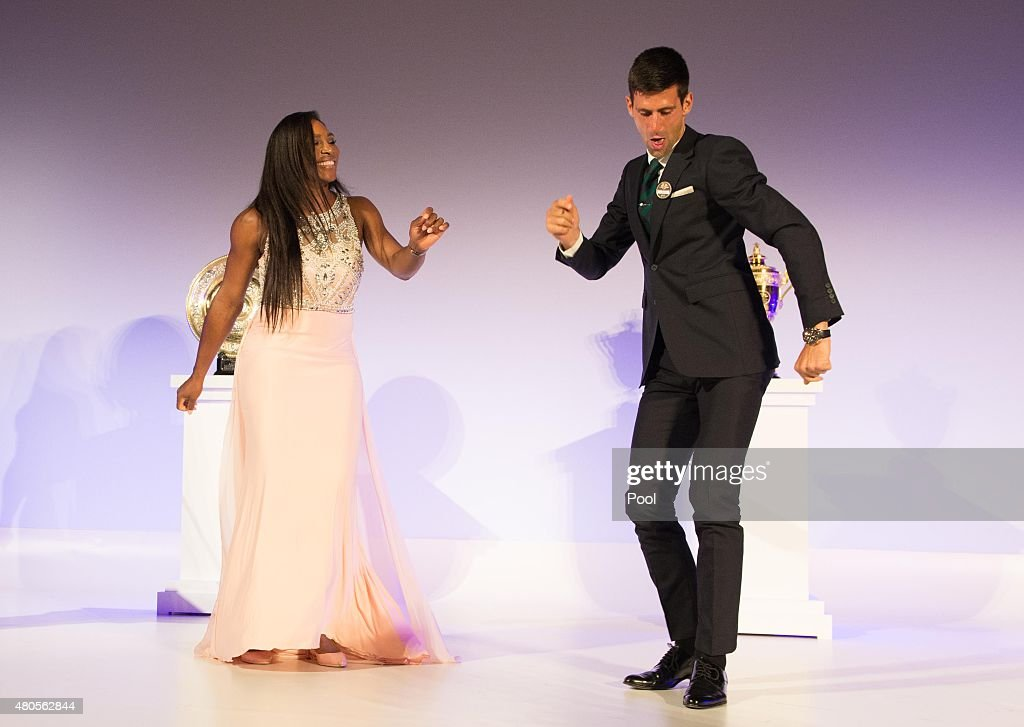 <a gi-track='captionPersonalityLinkClicked' href=/galleries/search?phrase=Serena+Williams&family=editorial&specificpeople=171101 ng-click='$event.stopPropagation()'>Serena Williams</a> of the United States and <a gi-track='captionPersonalityLinkClicked' href=/galleries/search?phrase=Novak+Djokovic&family=editorial&specificpeople=588315 ng-click='$event.stopPropagation()'>Novak Djokovic</a> of Serbia dance on stage at the Champions Dinner at the Guild Hall on day thirteen of the Wimbledon Lawn Tennis Championships at the All England Lawn Tennis and Croquet Club on July 12, 2015 in London, England.