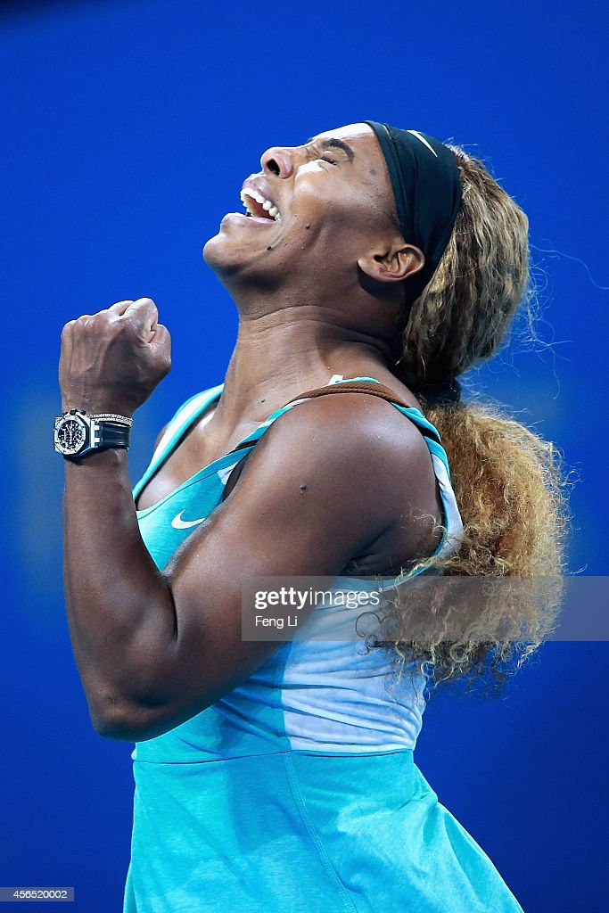 Serena Williams of the United States celebrates a ball against Lucie Safarova of Czech Republic during day six of the China Open at the National Tennis Center on October 2, 2014 in Beijing, China.